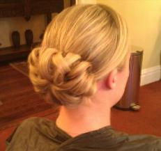 Detailed Low updo by Bridal Hairstylist